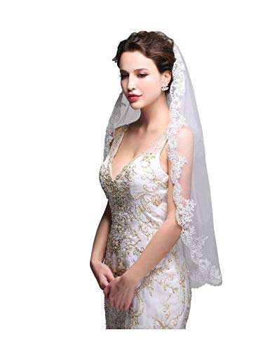 Olbye Women's Wedding Veil 1T Fingertip Length Lace Veil for Bride Embroidered Veil With Comb Wedding Headpiece (Ivory)