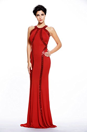Red Dress Jersey Montmo Gown Gorgeous Women's Long Trim Evening Sequin w1zHpFRxq