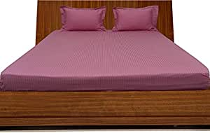 Brightlinen Onion Pink Superking (180 X 200 Cm) Fitted Sheet Stripe (pocket Size: 30 Cm) 3pcs