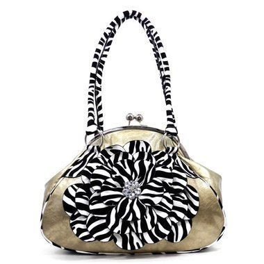 Women's Fashion Zebra Stripped Flower Rhinestone Accent Purse Handbag - Gold