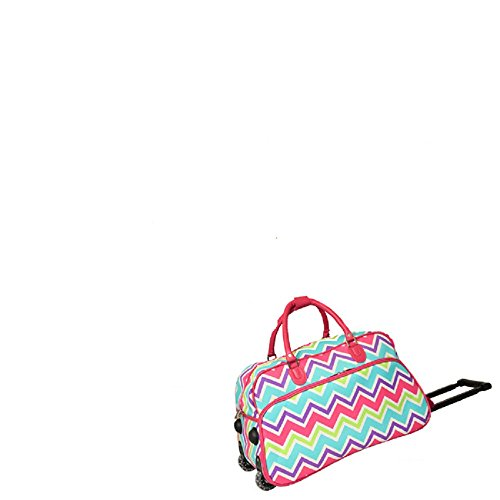22-Inch Girls Chevron Zig Zag Pattern Rolling Upright Spinner Duffel Bag, All Over Colorful Horizontal Stripe Themed Duffle, Fashion Travel Luggage with Wheels, Lightweight, Sports Fashionable, Pink by S & E