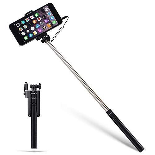 Pockefie Wired Selfie Stick Mini Battery-Free Non Bluetooth, Extendable Handheld Lightweight Compatible with iPhone Android Smartphones - Black
