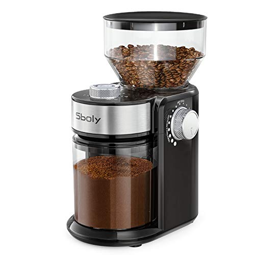 Sboly Electric Burr Coffee Grinder with 18 Grind Settings, Adjustable Burr Mill Coffee Bean Grinder for Espresso, Drip…