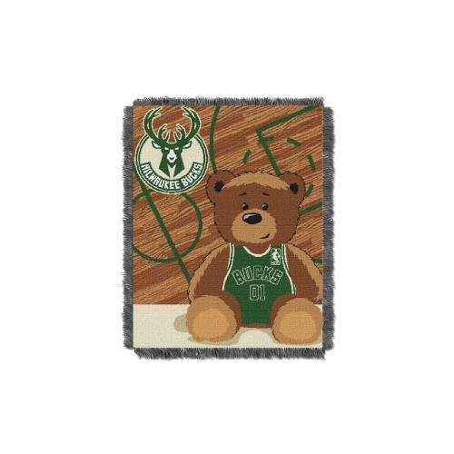 The Northwest Company Officially Licensed NBA Milwaukee Bucks Half Court Woven Jacquard Baby Throw Blanket, 36