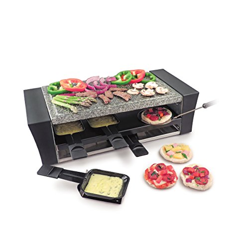 Swissmar KF-77087 Locarno 8 Person Pizza /Raclette with Granite Stone Top, Black