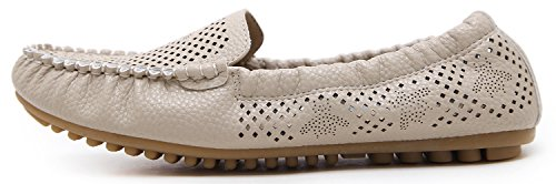 DolphinBanana Womens Driving Moccasin Loafers, Low Top Slip-on Soft Breathable Feet Support Insole Horsebit Flat Comfy Shoes Beige