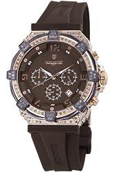 Lancaster Women's OLA0441L/RG/MR/MR Robusto Diamonds Chronograph Brown Dial Rubber Watch