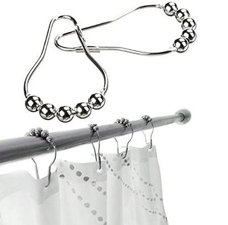 Set of 14 Polished Nickel GEFEII Rustproof Stainless Steel Heavy Duty Roller Shower Curtain Rings Hooks for Bathroom