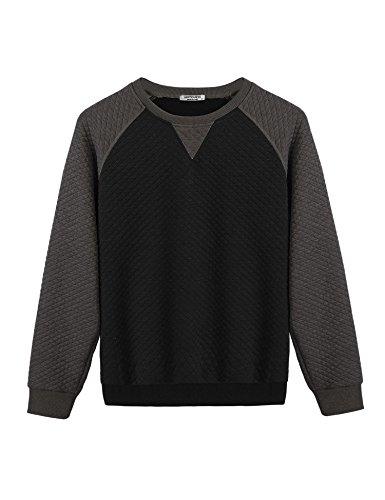 Donkap Men's Casual Crewneck Sweatshirt Long Sleeve Patchwork Lightweight Shirt Outwear Black XXL