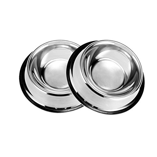 PETCEE Stainless Steel Dog Bowl Set of 2 has Rubber Around The Bottom