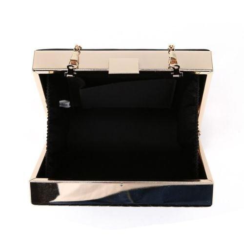 Kukubird Hanna flecha puntada caja embrague bolso monedero fiesta baile con bolsa Kukubird Champagne