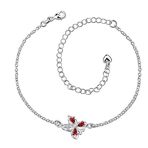 Butterfly Anklet Bracelet Sterling Silver Plated for Women Ruby Garnet Red Zircon Jewelry