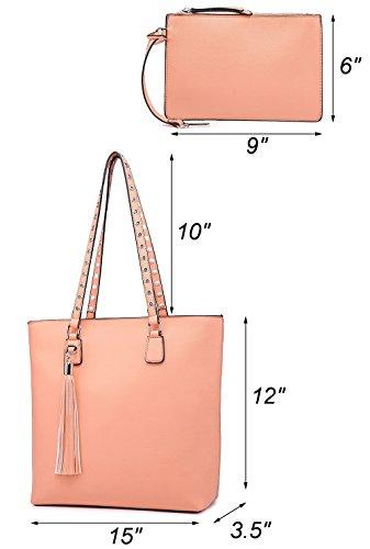 Celio Fedi Shoulder Purse,Hobo Bag Set Tote Handbag for Women Large Chic Classic Elegant Medium Size with Wallets Tassels (Medium, Pink) by Celio Fedi (Image #1)