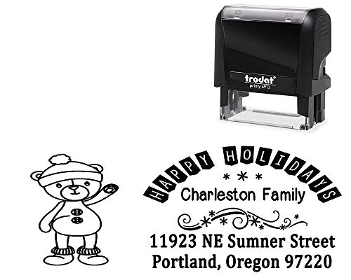 Customized Happy Holidays Self-Inking Stamp. with Waving Teddy Bear Image - Large 4 Line DIY Stamper, Change All Wording. Select Different Ink Colors.