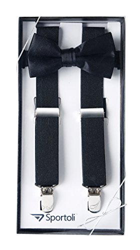 Suspenders for Kids Gift Set Wedding Tuxedo Genuine Leather Premium 1 Inch Suspender -Black (30 Inch) ()