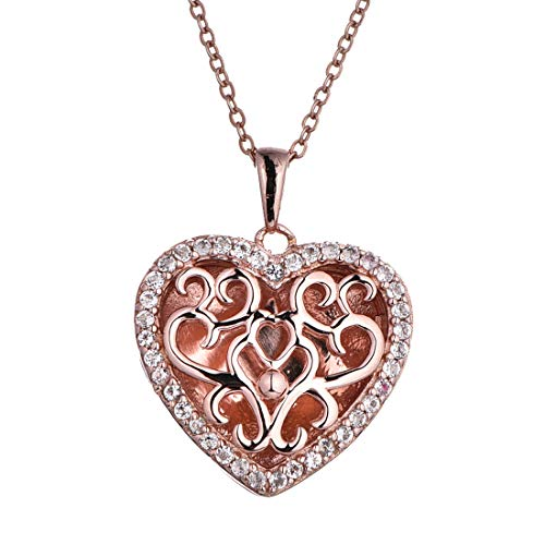 With You Lockets-Custom Photo Locket Necklace-Heart Pendant-Rose Gold-Topaz-22inch Chain-The Mary -