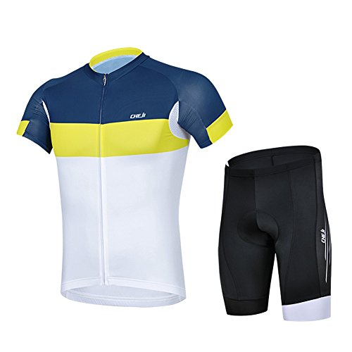 Baleaf Outdoor Men's Short Sleeve Cycling Jersey 3D Padded Shorts Set Yellow Blue Size XL