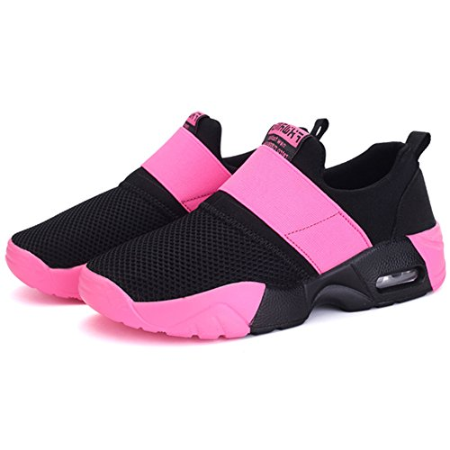 Wealsex Men's Women's Air Trainers Multi Sport Running Cushion Shoes Mesh Breathable Fitness Shoes Gym Athletic Jogging Sneakers Rose Red PZSwJ78hlF