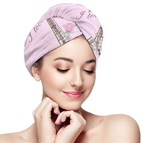YoulerTexls Pink Eiffel Tower in Paris Microfiber Hair Towel Wrap for Women,Super Absorbent Quick Dry Hair Turban for Drying Curly
