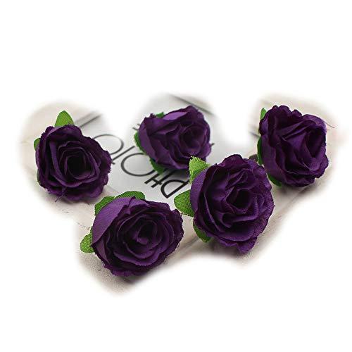 - Flower Head Mini Rose Artificial Flowers Wedding Party Christmas Olympics DIY Festival Decor Home Decoration Multicolor Craft Ornaments 50pcs (Dark Purple)