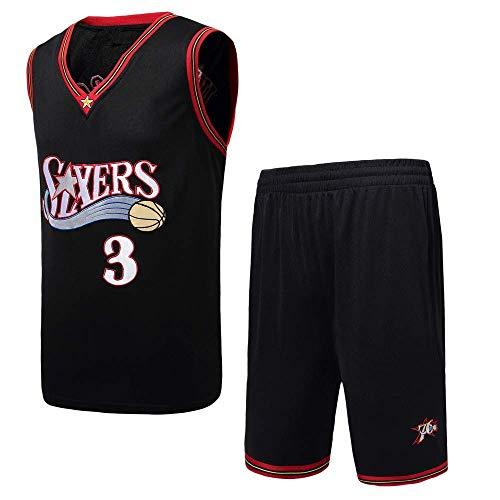 June Bart Retro Basketball Uniform No. 3, Allen Iverson Summer Sports NBA Jersey, Basketball Shirt Classic Embroidery…