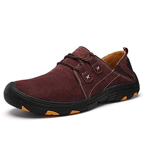 en Plein Low Hommes Koyi Air Cuir Sneakers Taille Confortable Grande Dad Chaussures Randonnée Help Casual en Coffee Shoes pour FXqqnta