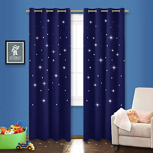 Twinkle Bedding Living - NICETOWN Starry Night Twinkle Blackout Curtains - Naptime Essential Nursery Draperies for Kid's Room, Window Drapes with Die-Cut Stars (2-Pack, W52 x L84-Inch, Dark Blue)