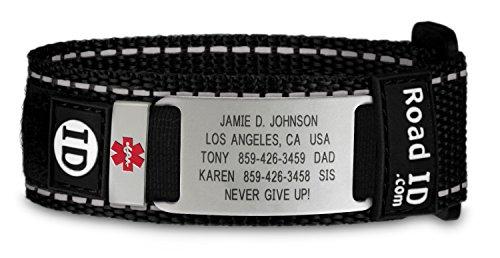 Medical Id Band (Road ID Medical Alert Bracelet - the Wrist ID Sport and Medical Alert Badge - Personalized Medical ID Bracelet and Child ID - Fits Adults & Kids)