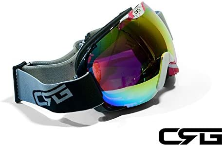 CRG Sports Anti Fog Double Lens Ski Goggles, Snow Goggles, Snowboard Goggles Music Note Printed Frame Adult CRG80 Series