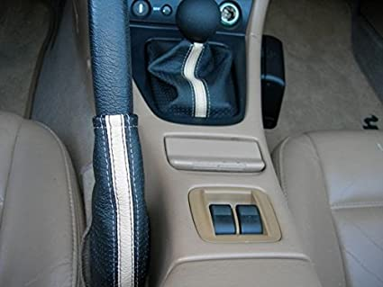 Black Leather-Blue Thread RedlineGoods Shift Boot Compatible with Mazda Miata NB 1998-05