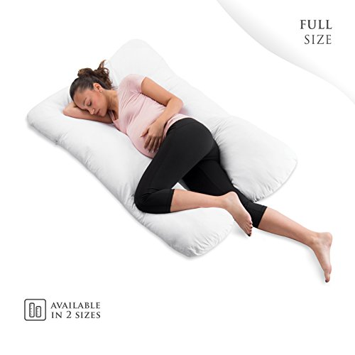 ComfySure Pregnancy Full Body Pillow - U Shaped Maternity and Nursing Cushion with Removable White Cover - Back, Neck Hip Support and Relief - Firm and Plush,