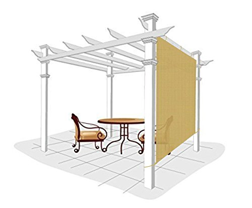 Easy2Hang Alternative solution for Roller Shade,Exterior Shade for Pergola, Patio, 5x5ft, Wheat (Roll Up Sun Shades For Patios)