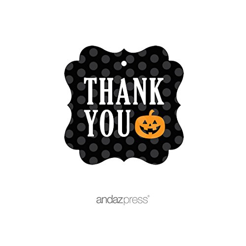 Halloween Thank You Tags (Andaz Press Classic Black and Orange Halloween Party Collection, Thank You Fancy Frame Gift Tags,)
