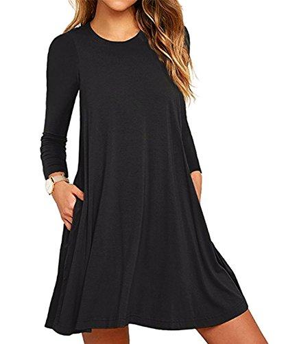Amstt Womens Long Sleeve Tunic Swing Dress With Pockets (XXXLarge, (Flowy Sheer)