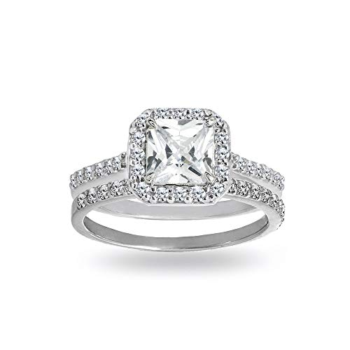 Sterling Silver Cubic Zirconia Princess-cut Halo Bridal Wedding Band Engagement Ring Set, Size ()