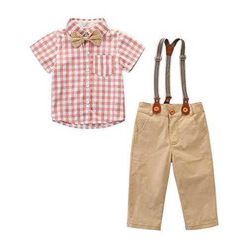 2Pcs Kids Baby Boys Gentleman Bowtie Plaid Shirt