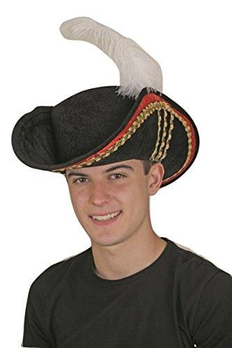 Adult Black Cavalier Musketeer Pirate Captain Hook Tricorn Tricorner Hat Costume -