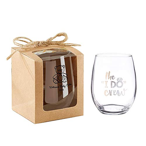 Kate Aspen Kraft 9 oz. Glassware Gift Box (36 Boxes) - Wedding Favor or Party Favor Accessory for Bridal Showers, Baby Showers or Birthdays. Stemless Wine Glass Sold Seperately