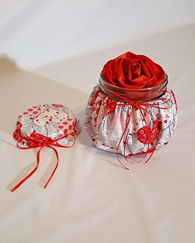 Handmade Scented Red Satin Ribbon Rose Head in a Red and Pink Hearts Themed Decorative Jar, Valentine's Day, Mother's Day ()