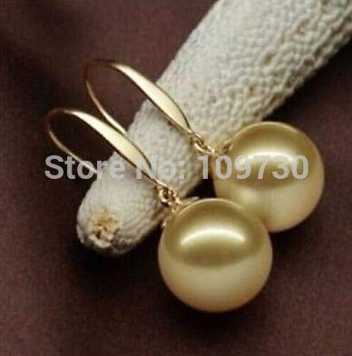 AAA+14mm Perfect Round Golden South Sea Shell Pearl Dangle Earring