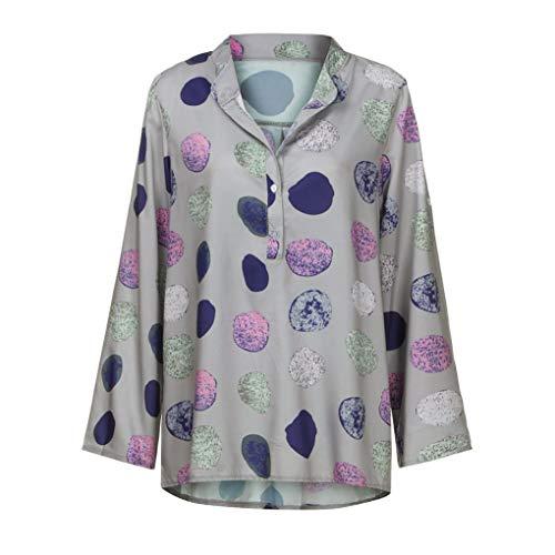 Innerternet Boutonn Chemisier T Shirt S Grand Automne 5XL Manches col Gris Dot Longues Travail de Femmes Shirt Bureau Stand Taille Blouse rPg8qr7z