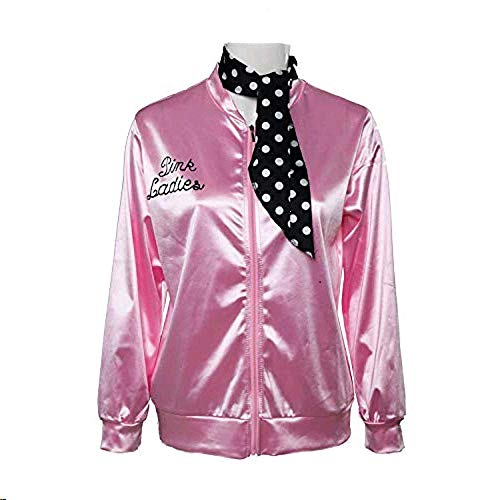 Fancycloth 50S Grease T-Bird Danny Pink Ladies Satin Jacket Costume with Polka Dot Scarf Large ()