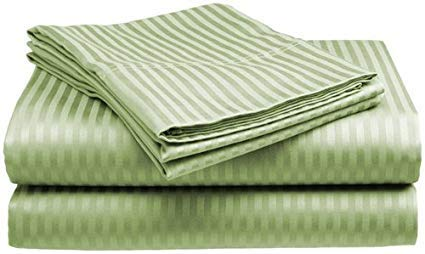 (Sleeper Sofa Bed Sheets Set-Sage Stripe 400 Thread Count 100% Cotton,Long-Staple Combed Pure Cotton Bedsheets, Soft & Silky Sateen Weave-Queen Size 60