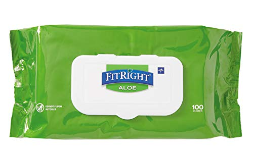 FitRight Aloe Personal Cleansing Cloth Wipes, Unscented, 8 x 12 inch Adult Large Incontinence Wipes, 100 count, pack of 6