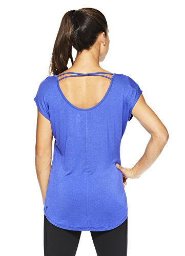 Gaiam Women's Short Sleeve Open Back Yoga T Shirt – Relaxed Fit Workout & Training Top – Royal Blue – Stella, Large Review