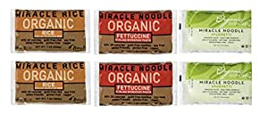 Miracle Noodle Organic Gluten Free Zero Carbs Shirataki Pasta and Rice, Variety Pack, 7-Ounce, 6-Count