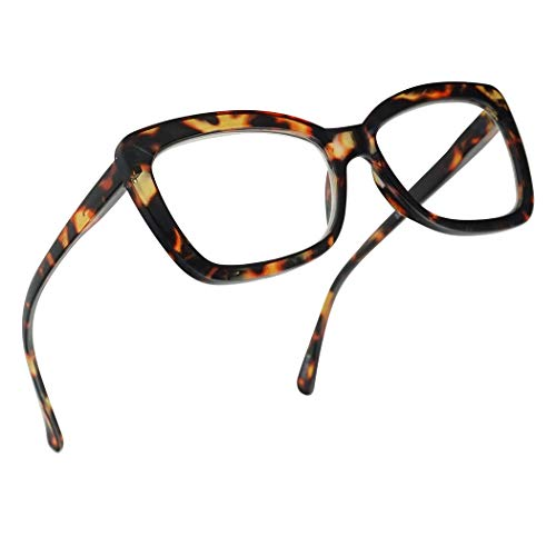 SunglassUP Chunky Square Classy Cat Eye Prescription Reading Glasses for Women Power +1.0 Thru +3.25 (Brown Tortoise, ()