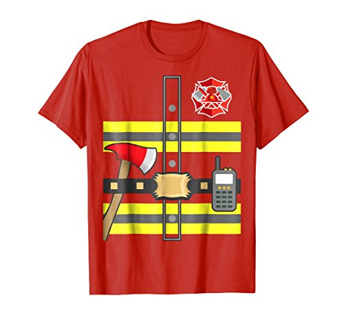 Mens Kids Fireman Shirt - Firefighter Halloween Costume Large Red
