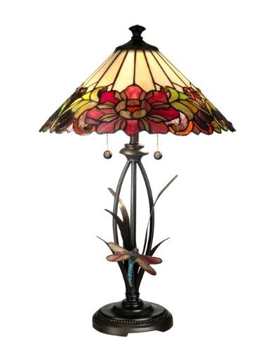 picture of Dale Tiffany TT10793 Floral with Dragonfly Tiffany Table Lamp, Antique Bronze