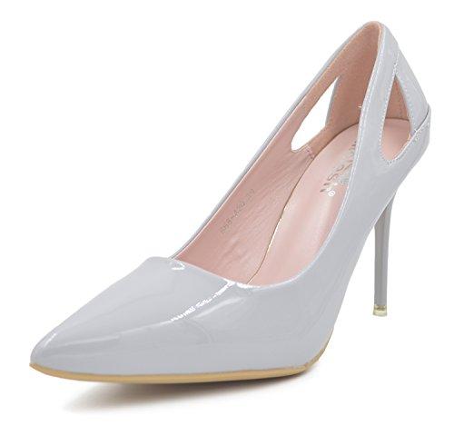 Melesh Wedding Dress Pumps Shoes Bridal Women Pointed Toe High Heels Glazed Leather (7 B(M) USD - EU38, Gray)